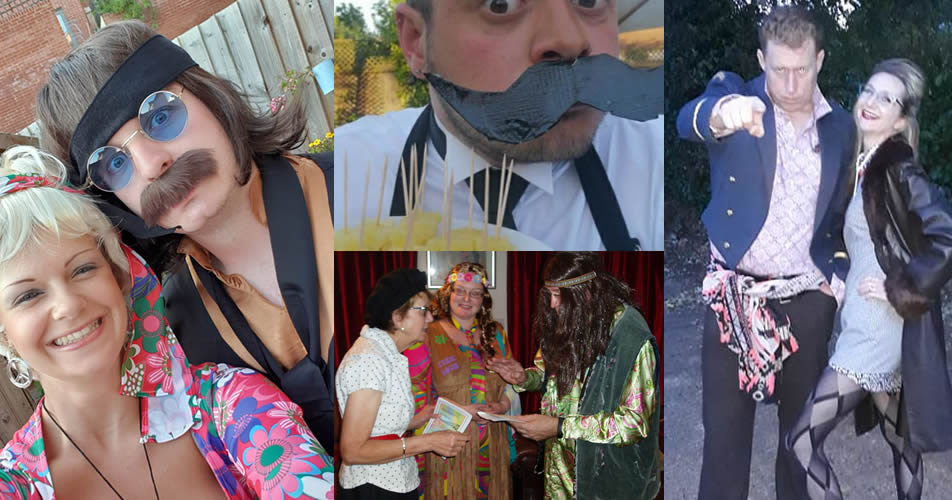 Selection of customer 60s murder mystery parties - virtual and face-to-face options