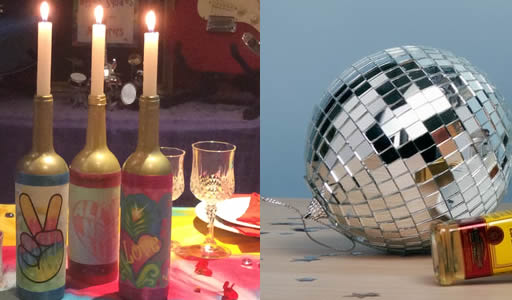 70s Disco murder mystery party - table setting for At Home version
