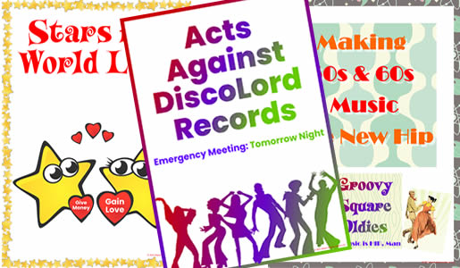 70s decoration pack includes posters for Acts Against DiscoLord Records, Stars for World Love and Groovy Square Oldies