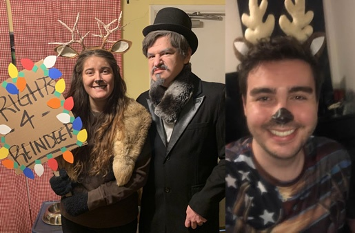Christmas party costumes - Deerie Deer, Scrooge and Chaser