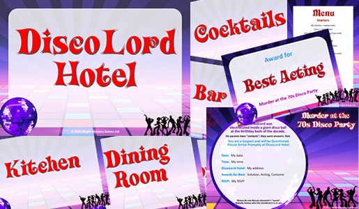 House signs, Awards, Menu - all in disco background