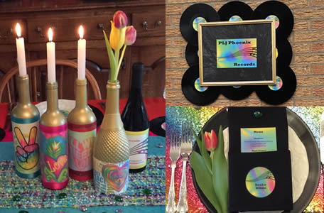 Love and peace candles, PLJ Phoenix Records sign, place setting