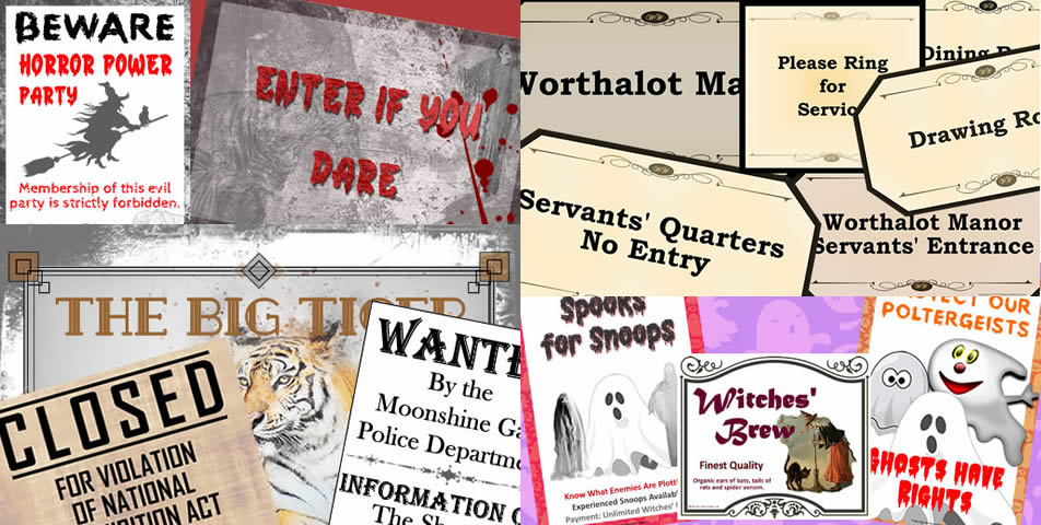 A selection of some of the printable decorations provided in the Decoration Pack of our murder mystery kits