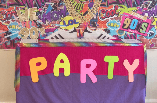 Party - letters spelt out in neon card
