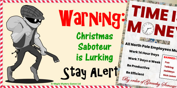 North Pole party kit - posters of Christmas Saboteur and Scrooge's Productivity drive