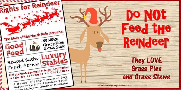 North Pole party pack posters include a Do ot Feed the Reindeer poster and a contrasting Rights for Reindeer poster