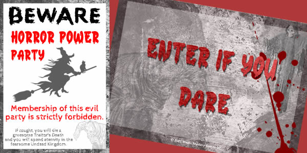 Pack includes Enter if you Dare sign and Beware: Horror Power Party poster