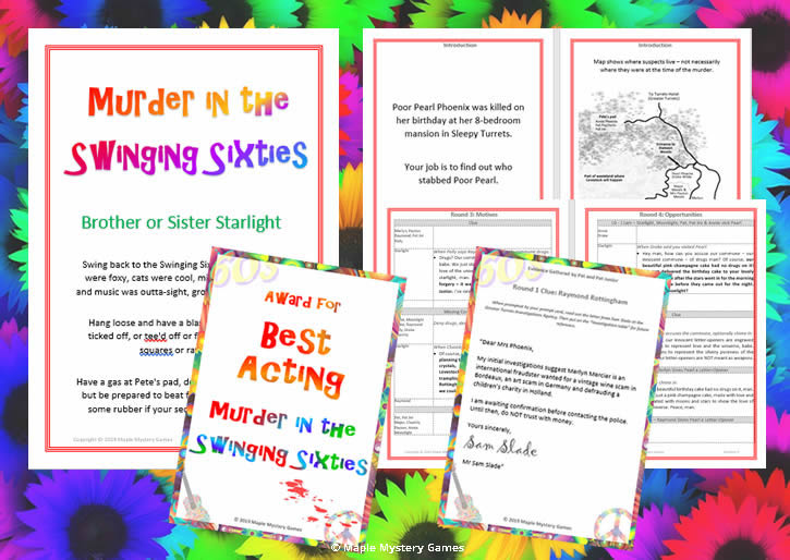 Party materials include charcter booklets, clues and award certificates