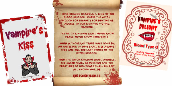 Ancient vampire curse presented in attaractive scroll and a couple of vampire wine bottle labels