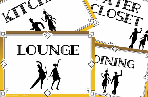 party pack room signs - 20s style