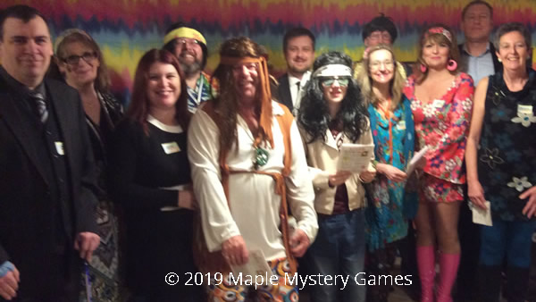 Party version of murder mystery game (14 players, including two optional characters)