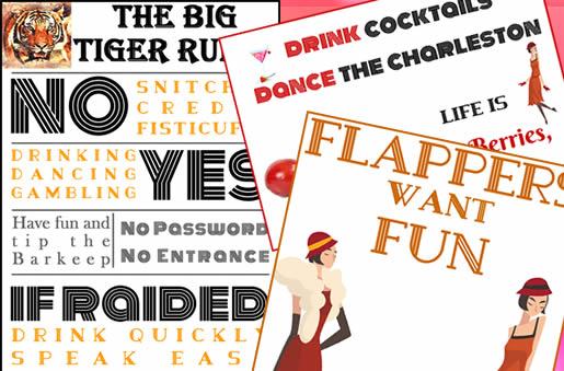 Pro Flappers, cocktails and fun posters