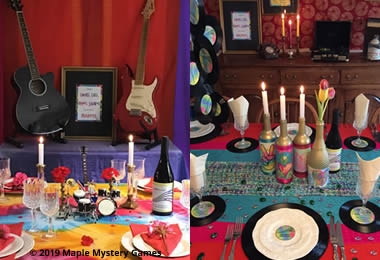 Musical instruments, record s as place mats and coasters, records as mobiles, love and peace bottles