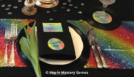 Records used as place settings and coasters