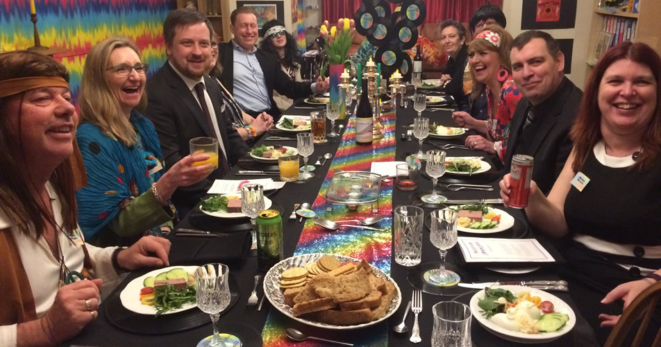 60s murder mystery party (face-to-face option) - guests at dinner