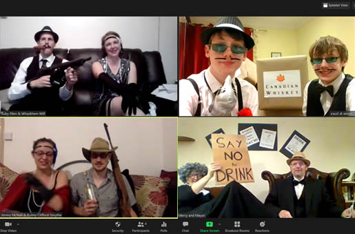 Virtual twenties' murder mystery party